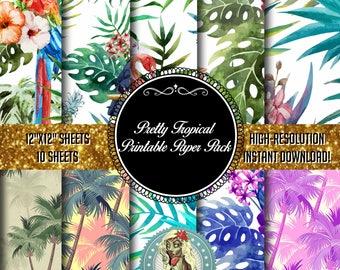 Tropical Paper, Tropical Print, Tropical Clipart, Tropical Clip Art, Tropical Party, Tropical Leaf, Tropical Invitation, Instant Download