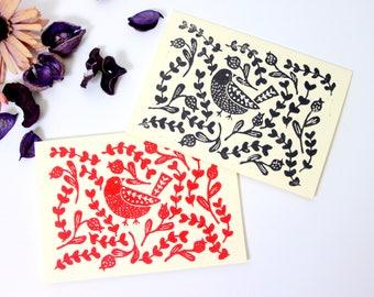 Folk art bird greeting card, lino print art, floral greeting card, birthday card, block printed card, handmade postcard, bird folk art print