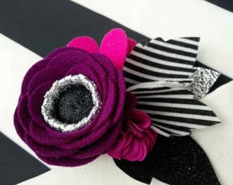 Striped Fuchsia // Black & white  striped felt flower headband // stripe // felt flower crown // floral headband for baby, toddler, girl