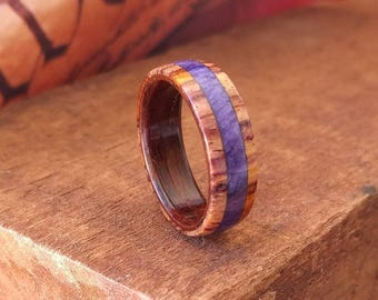 Cocobolo Wood Ring - Purple Women's Wooden Ring Wooden Wedding Band Engagement Ring Anniversary Gifts for Men Wood Jewelry
