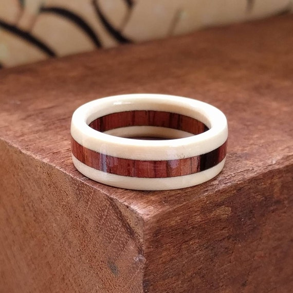 Holly and Rosewood Wood Ring - Wooden Ring Men Wedding Band Women Engagement Ring Wood Anniversary