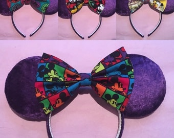 Purple crushed velvet ears with any choice of bow