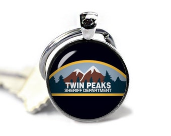 Twin Peaks Keychain Sheriff Department Keyfob Twin Peaks Key ring Twin Peaks Accessories