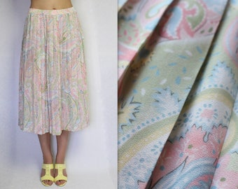 Pale Pink Pleated Skirts Accordion Pleated Midi Skirts Floral Print Summer Skirts Vintage Skirts Retro Skirts Large Size