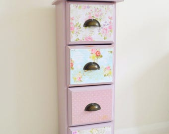Tall Boy Patchwork 4 Drawer Chest Hand Painted Decoupage Lilac Shabby Chic, Kids Bedroom Drawer,