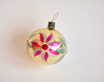 Christmas glass ornament ball, Antique Christmas ornament, Vintage Soviet 1950s Christmas,Hand painted ornament,Retro Tree decoration - B18