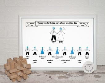 Wedding Party Thank You Button People Print
