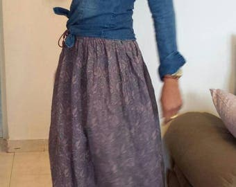 Cotton purple skirt boho Indian. Hippie