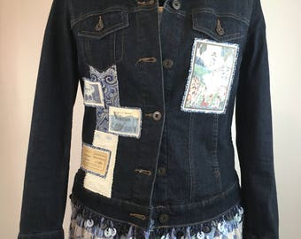 """Altered Couture Denim Jacket """"Queen of Hearts"""" Embellished"""