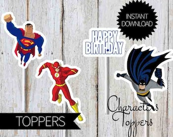 SuperHero Justice League Birthday Party Printables Characters Toppers- Instant Download | Justice League Unlimited| Cake Topper