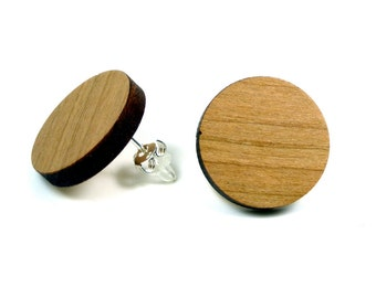Cherry wood earrings / wood jewelry with Sterling Silver 925 earrings | Natural jewelry | Ear jewelry
