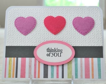 Handmade Thinking of You Card - Encouragement Card - Friendship Card - Cancer Encouragement Card - Embossed Handstamped Card - Blank Inside