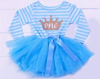 Blue 1st BIRTHDAY girls TUTU DRESS  Party Outfit Cake Smash Gold Glitter Tiara Crown Striped Bow Ribbon