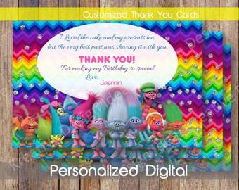 Trolls Thank You Card Trolls Printable Thank You Personalized Trolls Thank You Card DIGITAL FILE