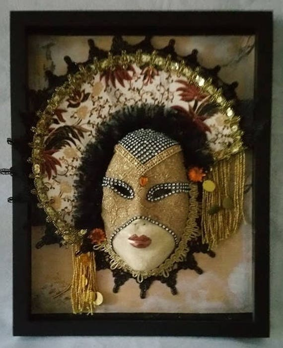 "Handmade, One of a Kind, Original, ""Chinese Lady"" Paper Mache Mask Set Into An 11 by 14 Inch Shadowbox by Maskweaver, Soraya Ahmed"