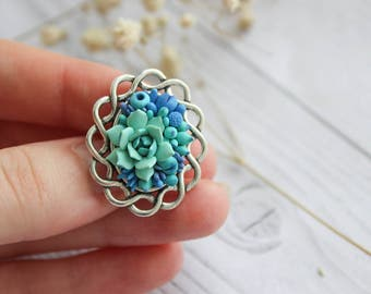 Succulent brooch, little cute brooch with succulent, flower accessories, plants jewelry