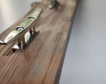 Driftwood Coat Rack with 4 Mirror Finish Boat Cleat Hooks