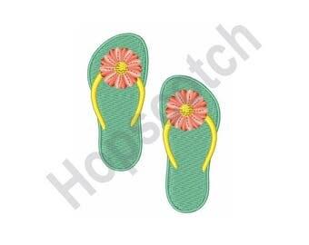 Flower Flip Flops - Machine Embroidery Design