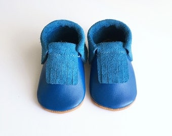 Blue Leather Moccasins // Leather Moccasins // Baby Moccasins // Moccasins // Blue Moccasins // Blue Moccs