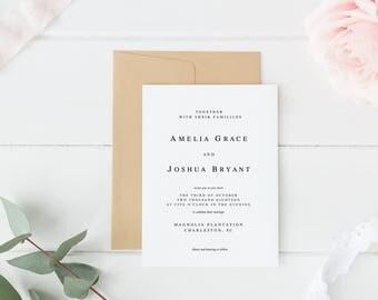 Wedding Invitations, Minimalist Wedding Invitations, Printable Wedding Invitations, Invitations, Wedding Suite, Invitation Suite, Minimalist