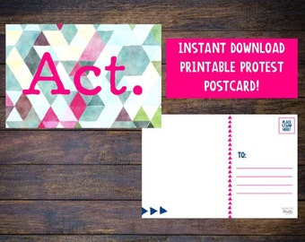 Resist Postcard - Protest Postcard - Activism Postcard - Womens March - Feminist Postcard - Equal Rights - Peaceful Protest - Printable