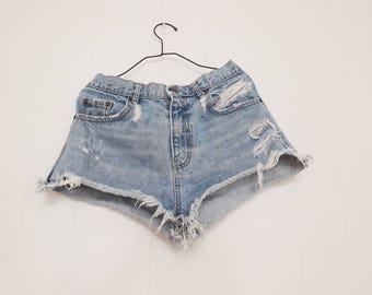 Vintage Denim Shorts Cut Offs Short Shorts Levi's Inspired Distressed Jeans Vintage 80's Retro Clothing 1980
