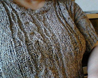 Brown summer sweater with a knitted large 48