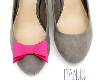 Raspberry bows - Shoe bows Manuu, Shoe clips Manuu, Pink shoe clips