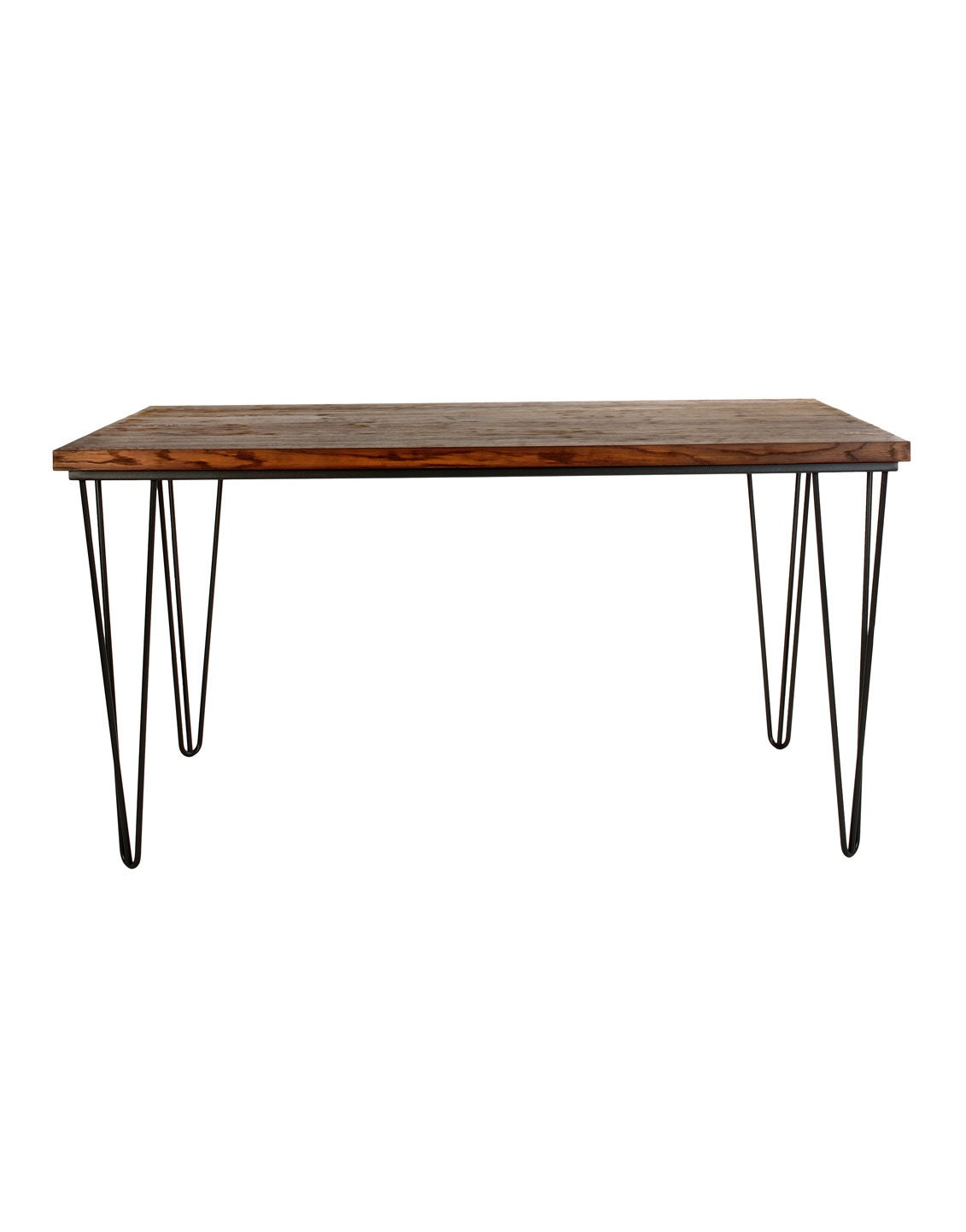 Small coffee table with industrial steel base and oak wood Industrial metal coffee table