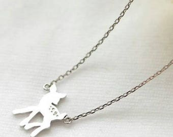 Disney Bambi deer necklace in silver tone.