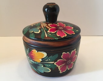 Wooden Jewelry Box ~ Painted Box ~ Toleware Style ~ Pink Flowers ~ Artist Signed ~ Vintage