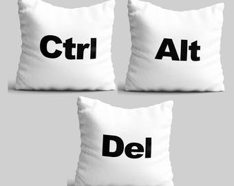 Throw pillow set of 2 computer Geeks white pillow cases office decor CTRL ALT DEL studio accent throw pillow unique nerds pillow cover PKG30
