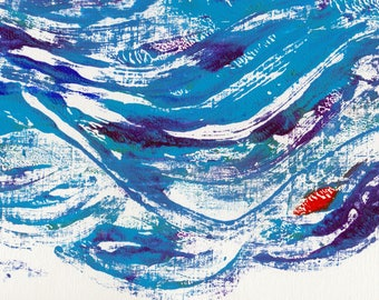Little red boat - hand-made monoprint