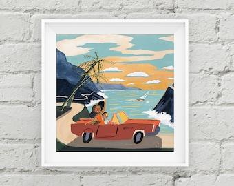 Vintage California- Travel Poster - Art Print