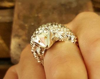 ring silver Hedgehog