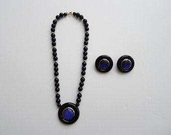 80s Vintage Black & Blue Round Clip On Earrings and Necklace Set