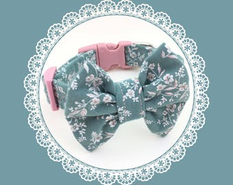 Blue w/ Pink Flowers & Bow Dog or Puppy Collar