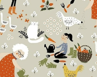 Gardening, by, Dinara Mirtalipova, for, Windham Fabrics, cats, ducks, chickens, vegetables, Fat Quarter, Half yard, Yardage, quilting fabric
