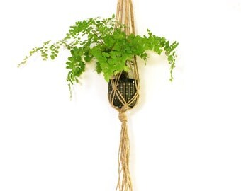 Suspension of plant in macramé hemp - 106 cm long