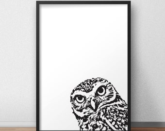 Owl Poster, Wall Art, Poster Print, printable, black white, photos of animals, digital downloads, Owl, Scandinavian design, minimal art
