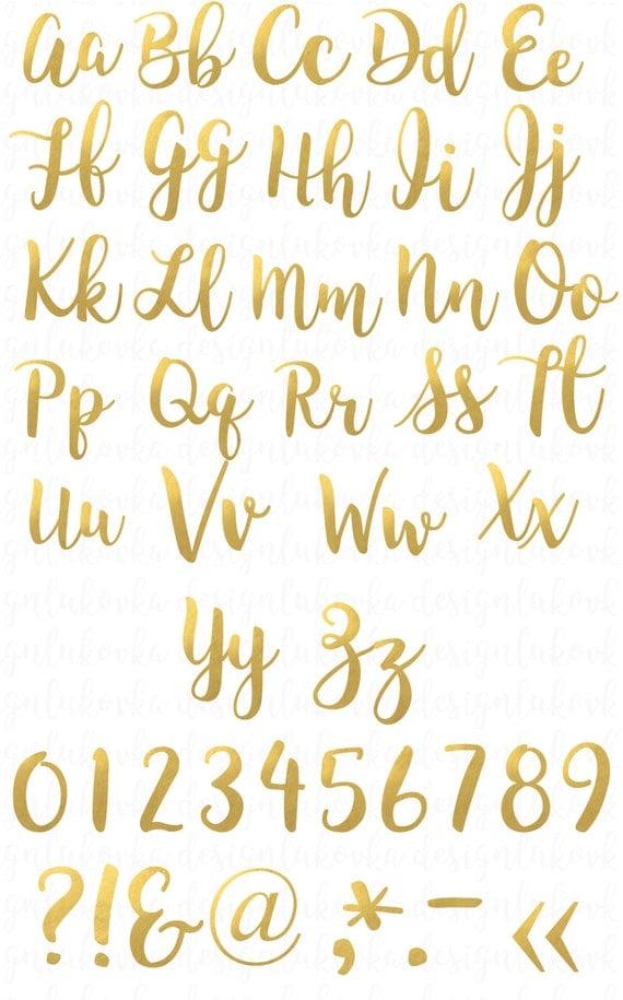 Gold Foil Alphabet Letters Numbers Gold Alphabet Clipart