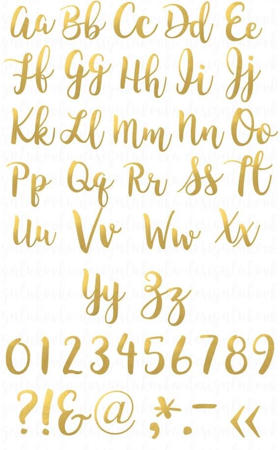 Gold foil alphabet letters numbers clipart