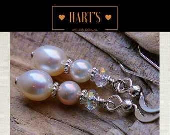 Akoya Pearl Teardrop Pearl Quartz Crystal Argentium Silver Earrings