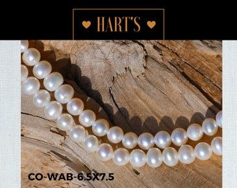 White Cultured Pearl Strand Necklace Silk Hand Knotted  CO-WB 6.5x7.5