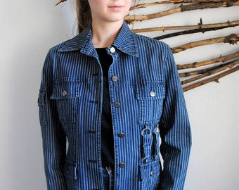 Vintage womens spring jacket 1990s Striped shirt