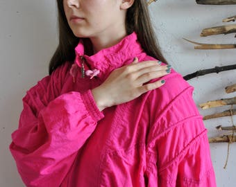 Pink windbreaker 1990s 1980s womens vintage sport jacket Rodeo