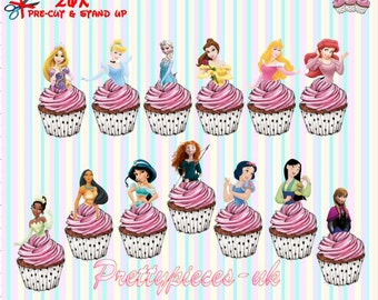26 x Disney Princess half's Stand-Up Pre-Cut Wafer Paper Cupcake Toppers