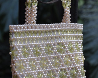 Pastel Lime Beaded Purse