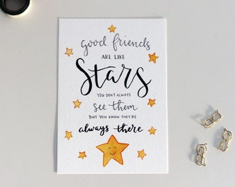 A5 Print Mini Poster Friends Are Like Stars | Watercolor illustration Handlettering | Friendship card home decor wall art