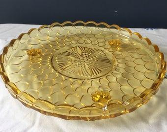 Vintage Amber Glass Cake Stand - pressed glass cake stand - yellow glass cake plate - vintage afternoon tea